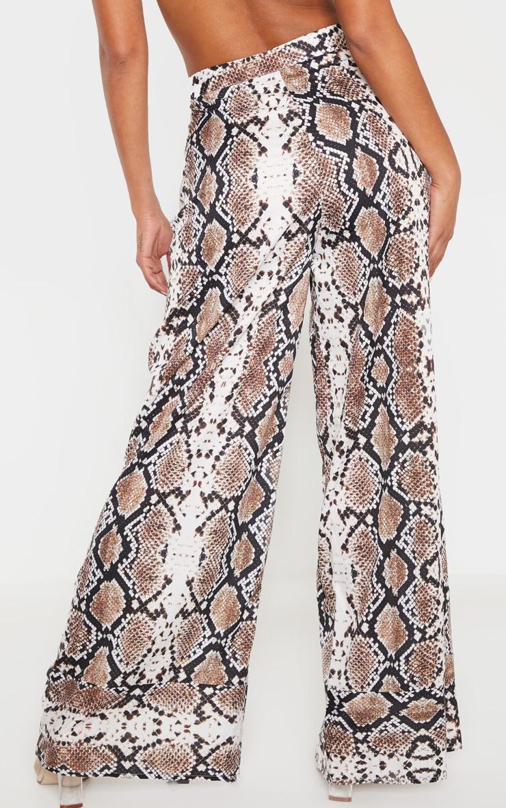 Brown Lightweight Snake Print Oversized Wide Leg Pants 2