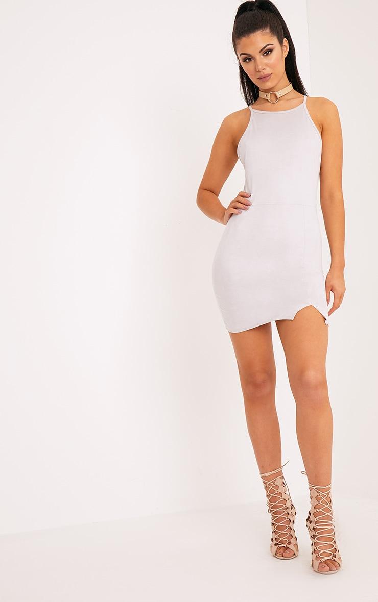Rosalin Ice Grey Faux Suede Bodycon Dress 4