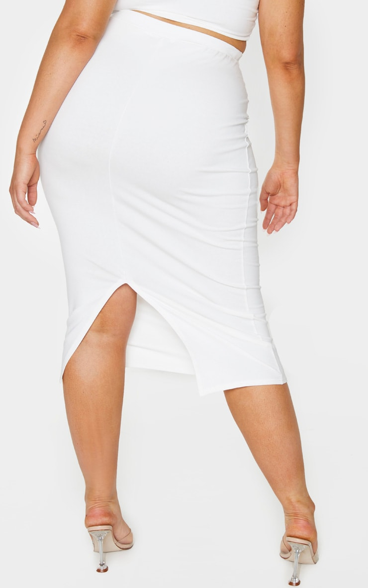 Plus Cream Cotton Split Detail Midi Skirt 3
