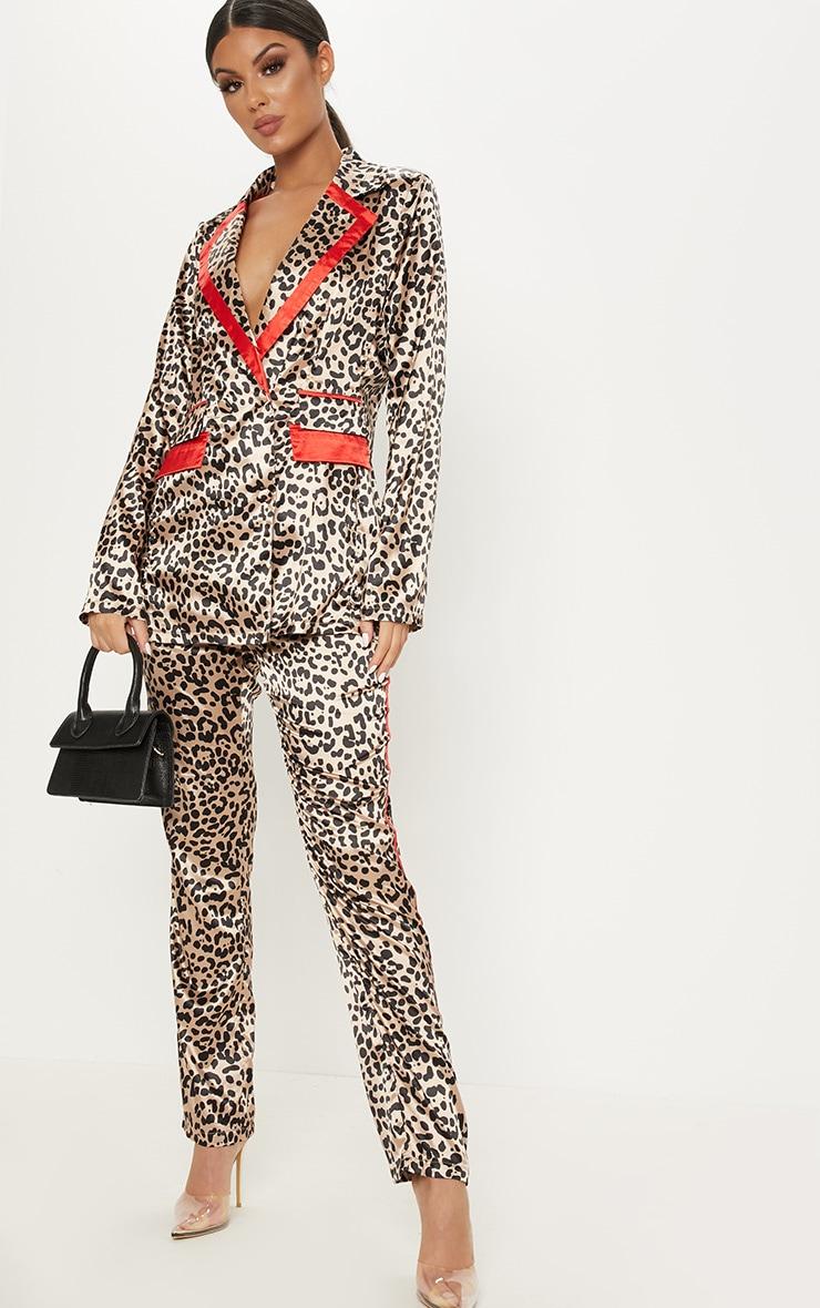 Brown Leopard Print Satin Trim Blazer 4