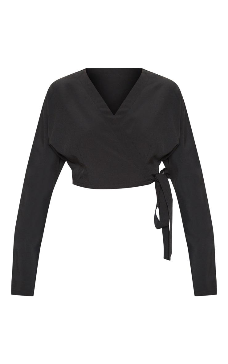 Black Woven Tie Front Crop Shirt 3