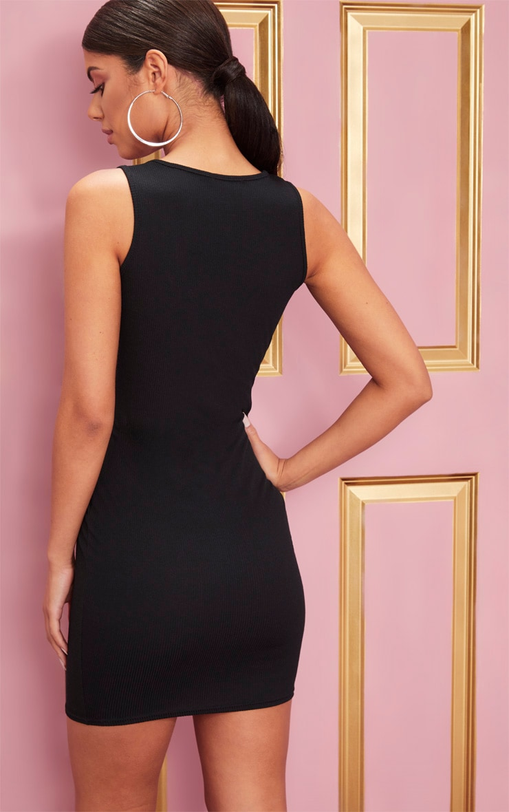 Black Ribbed Scoop Neck Bodycon Dress 2