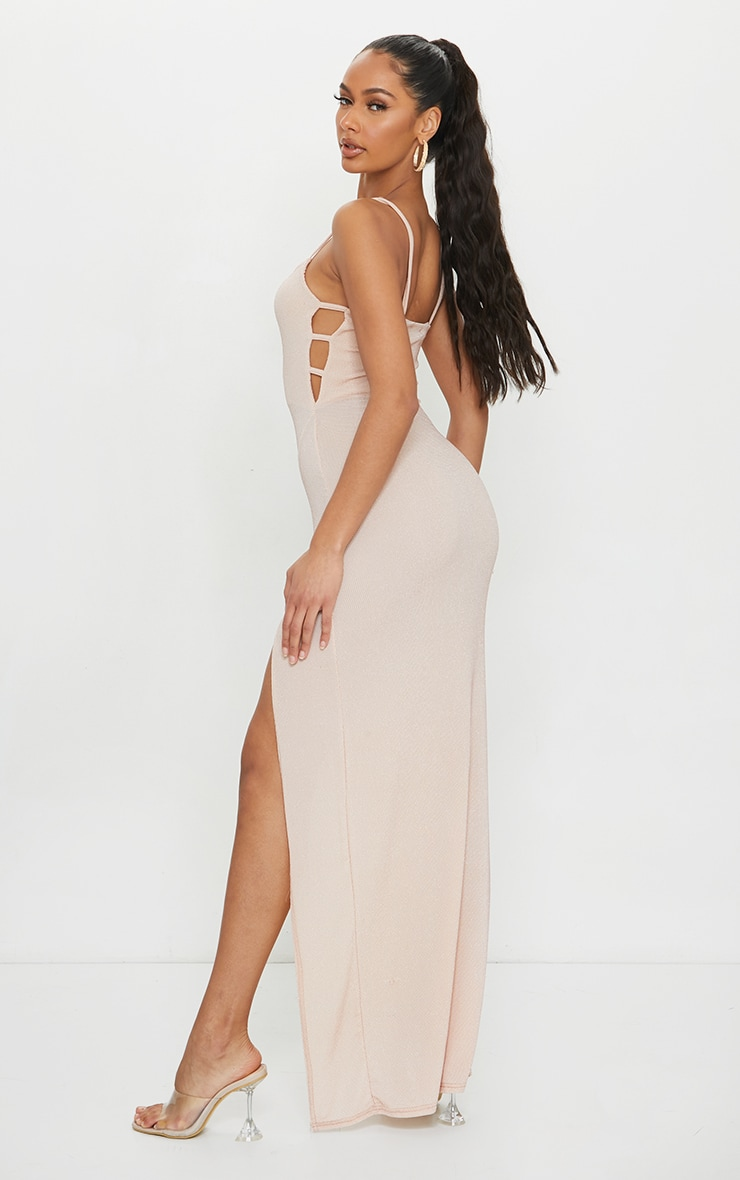 Nude Textured Glitter Split Maxi Dress 2