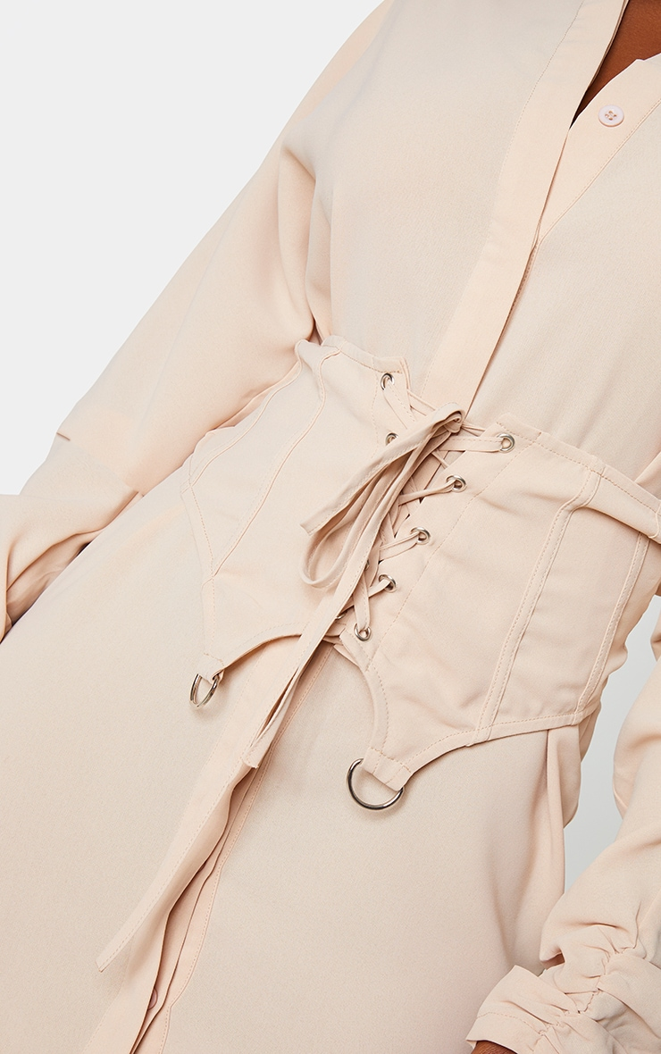 Stone Corset Waist Detail Shirt Dress 4
