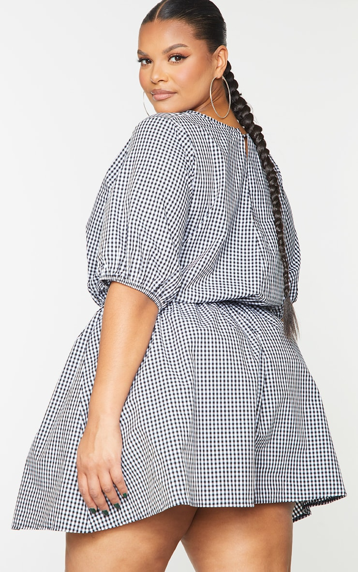 Plus Black Elastic Waist Poplin Gingham Dress 2