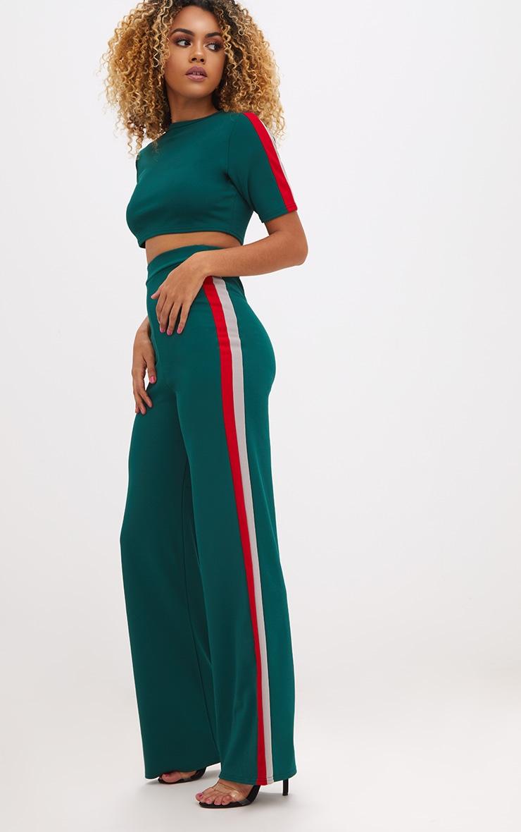 Emerald Green Sport Side Stripe Wide Leg Trousers 1