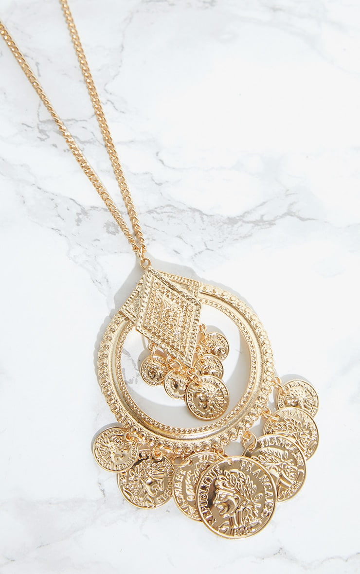 Gold Long Boho Coin Necklace 3