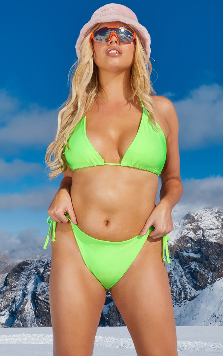 Plus Neon Green Triangle Bikini Top