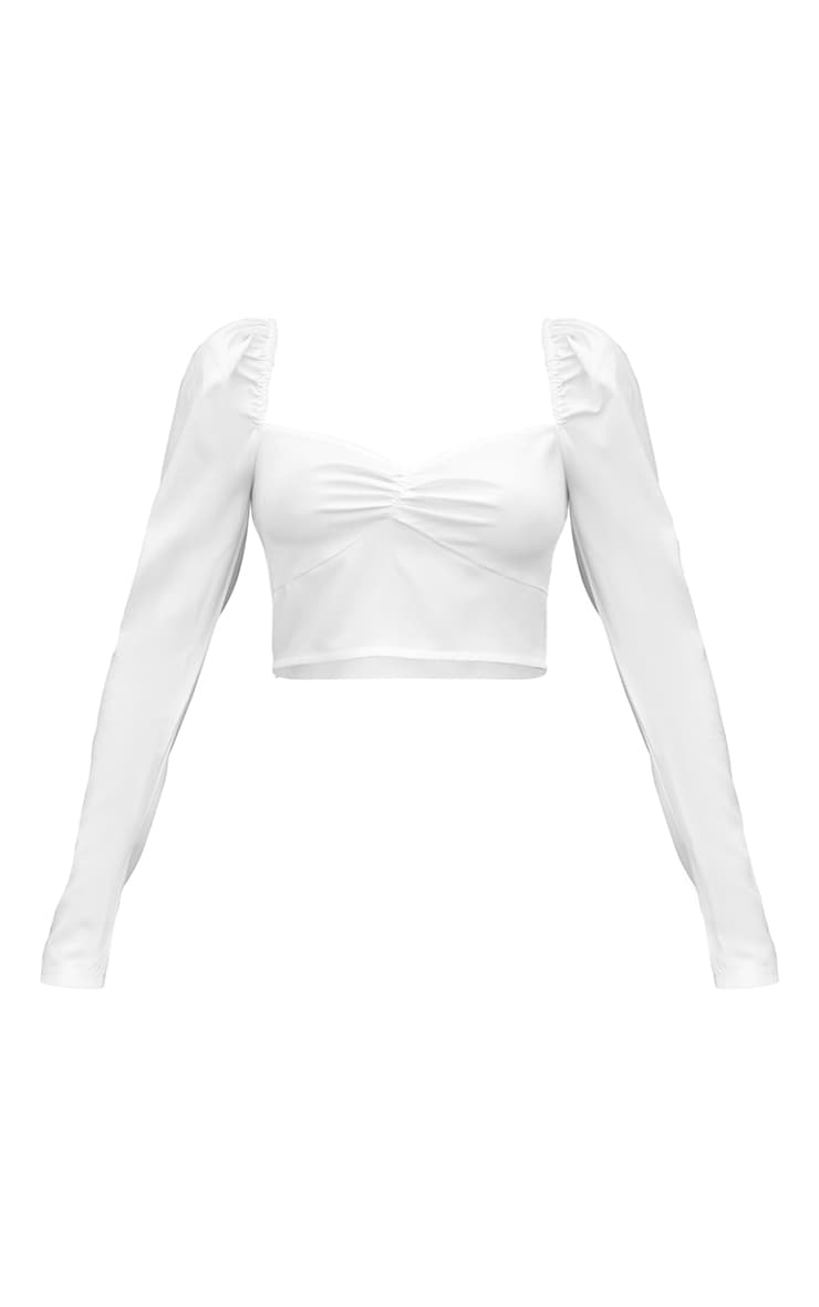 White Woven Puff Shoulder Long Sleeve Cropped Blouse 5