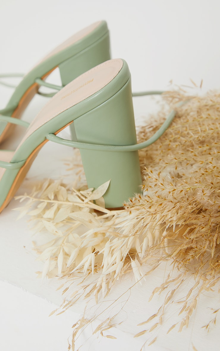 Sage Green Delicate Strap Block Heel Ankle Tie Sandal 4