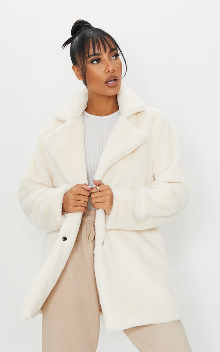 Cream Soft Faux Fur Coat 1