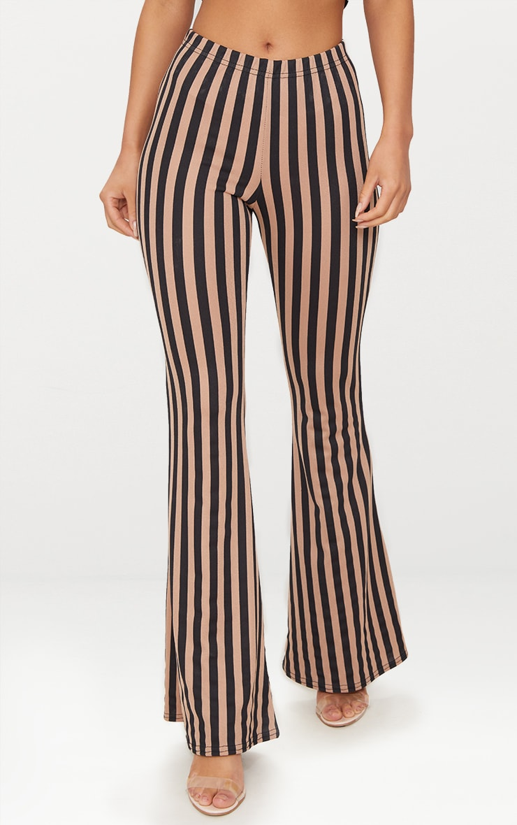Taupe Humbug Stripe Flared Trousers 2