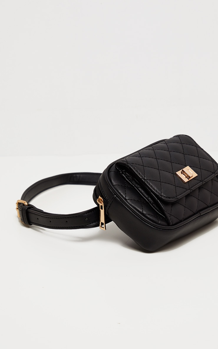 Black Quilted Pocket Front Fanny Pack 2