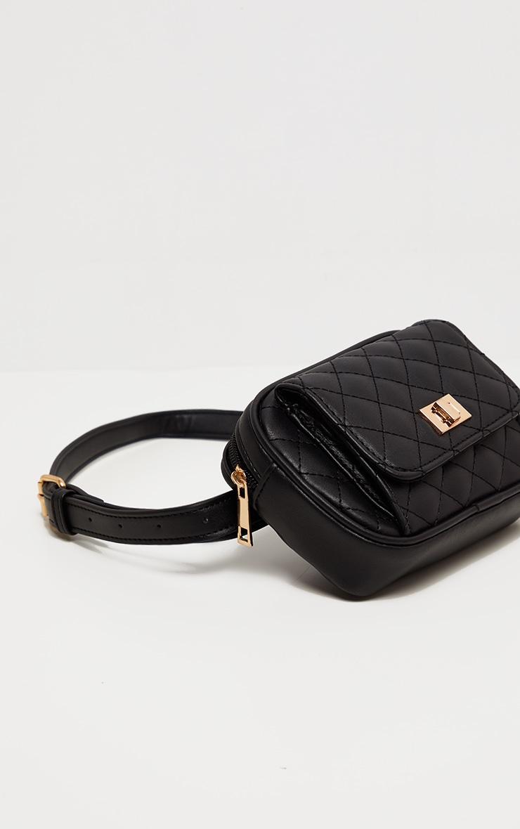 Black Quilted Pocket Front Bum Bag 2