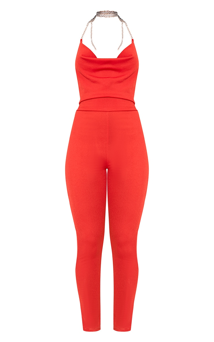 Red Chain Scoop Front Jumpsuit  3