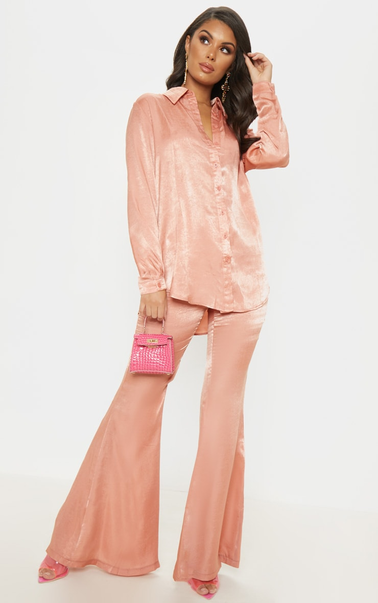 Peach Satin Oversized Shirt