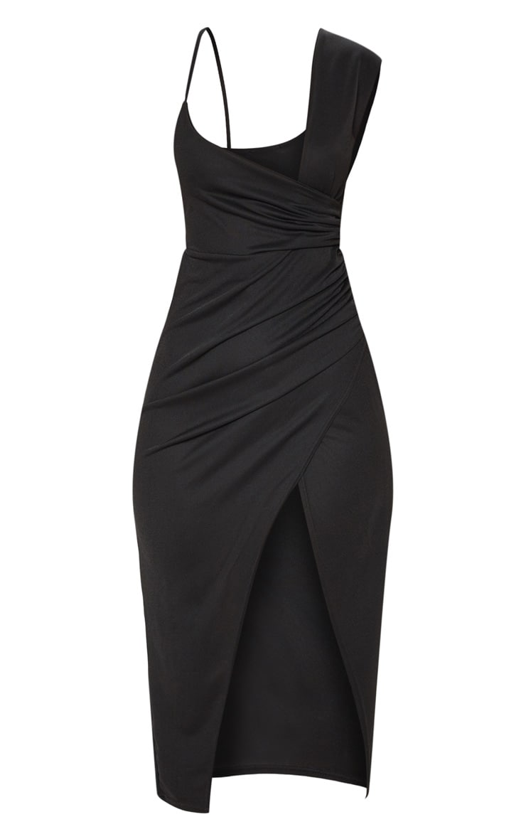 Black Asymmetric Sleeve Ruched Midi Dress 3