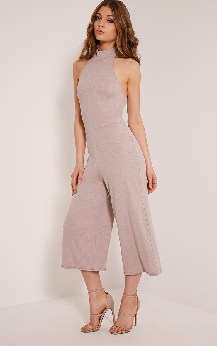 Marcie Taupe High Neck Low Back Culotte Jumpsuit 5