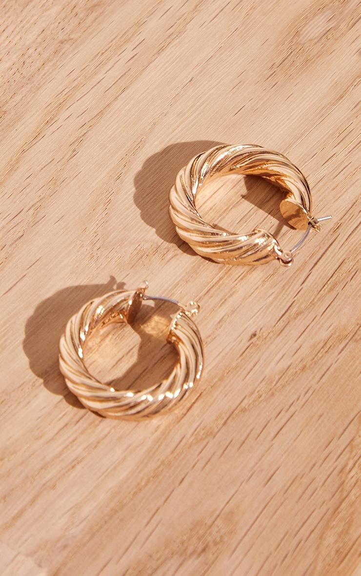 Gold Chunky Ribbed Twist Hoop Earrings 1