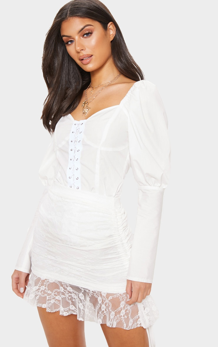 White Lace Frill Hem Drawstring Detail Mini Skirt
