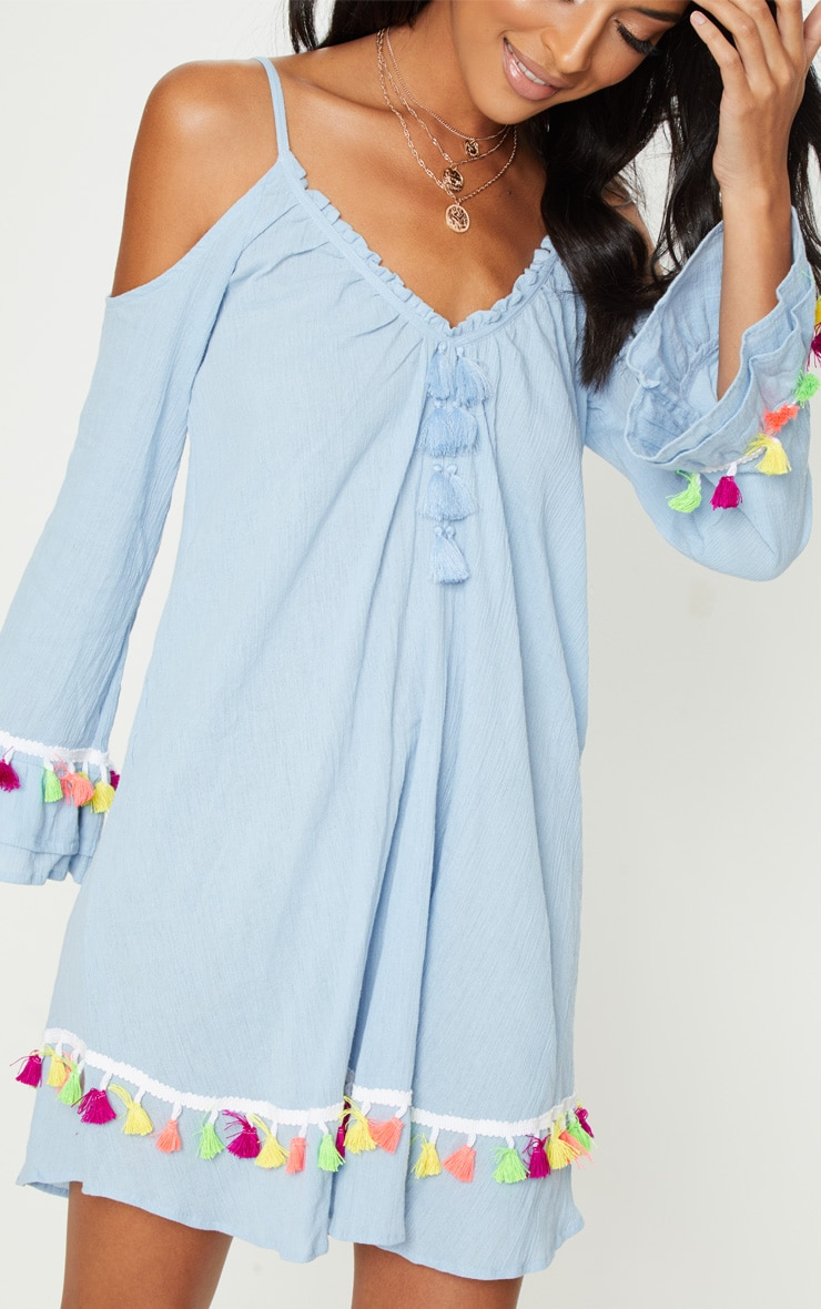 Dusty Blue Tassel Detail Cold Shoulder Shift Dress 5
