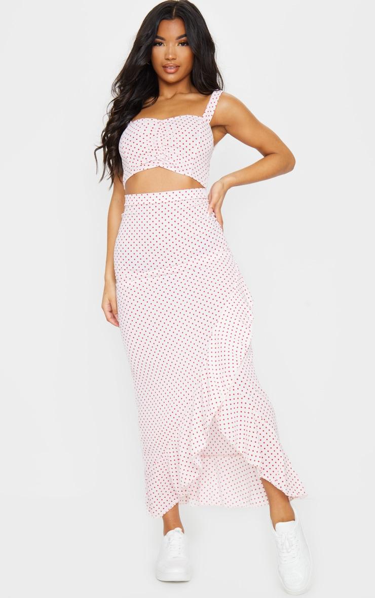 Light Pink Polka Dot Printed Woven Frill Hem Midi Skirt 1