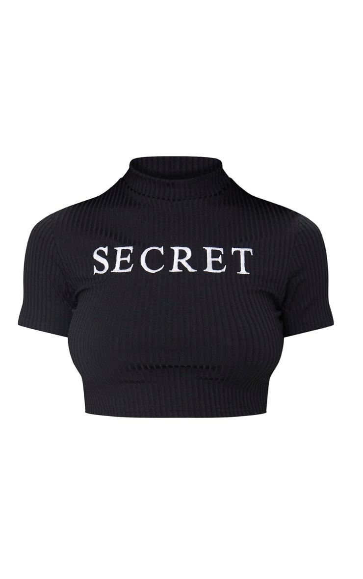 Black Secret Slogan Rib Crop Top  3