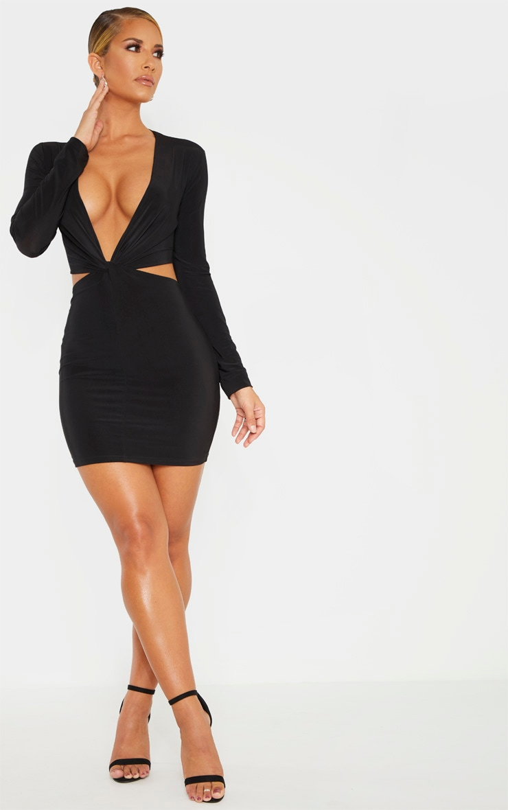 Black Slinky Knot Front Cut Out Bodycon Dress 4