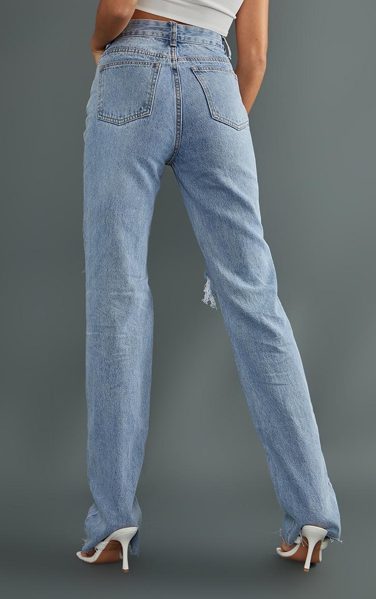 Tall - Jean droit très long délavé clair à détail déchiré  3