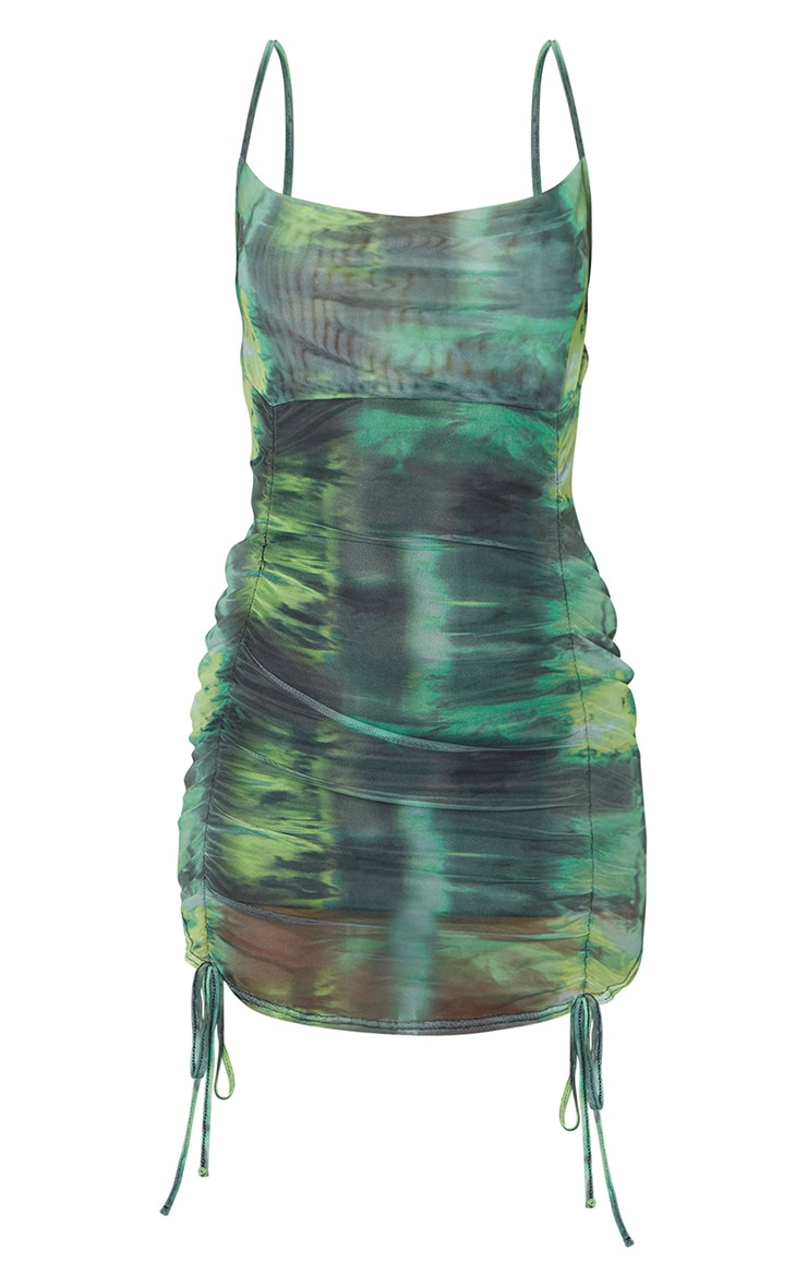 Green Tie Dye Print Strappy Ruched Tie Hem Bodycon Dress 5