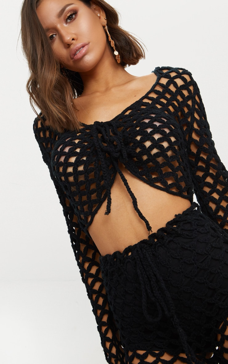 Black Crochet Lace Up Top 4