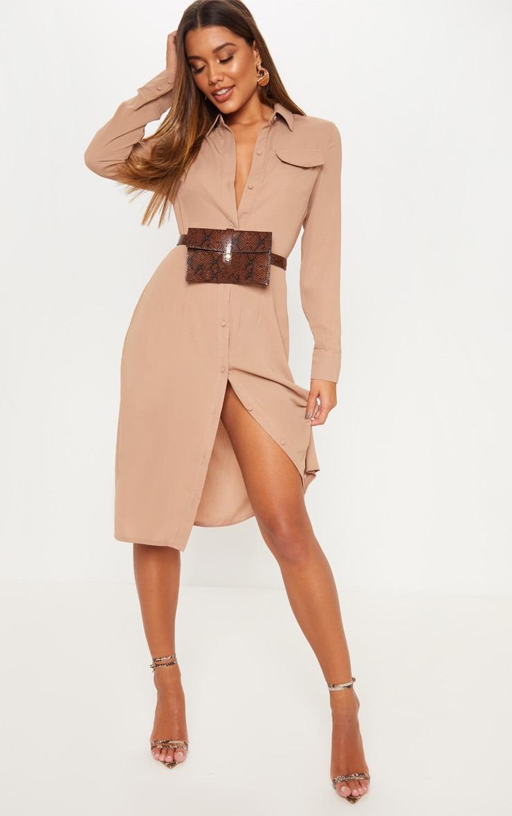 Stone Long Sleeve Midi Shirt Dress by Prettylittlething