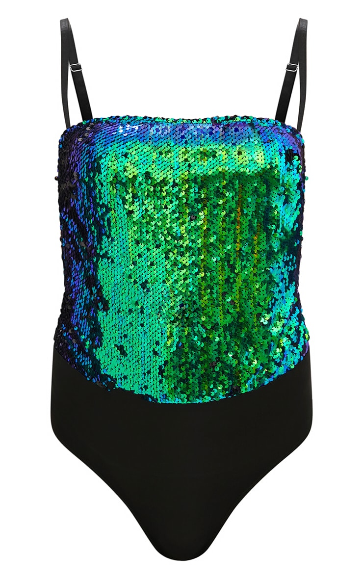 Green Sequin Mesh Back Thong Bodysuit 2