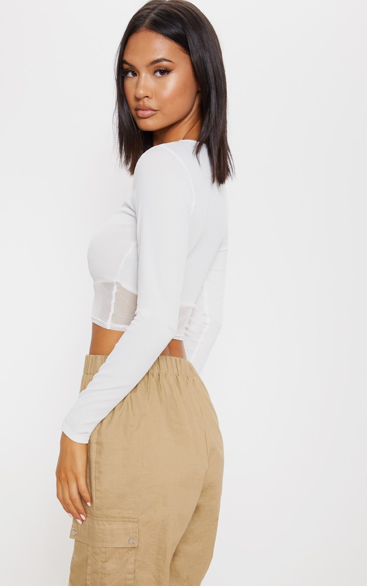 Cream Long Sleeve Mesh Trim Rib Crop Top 2