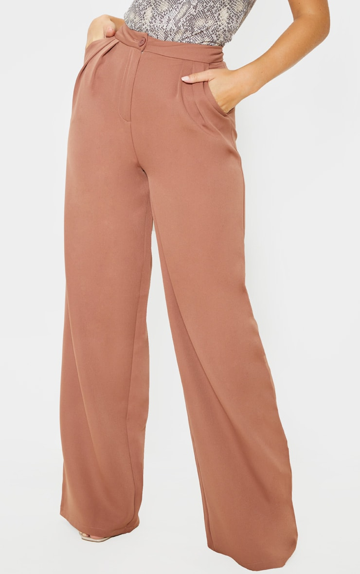 Taupe Woven Wide Leg Pants 3