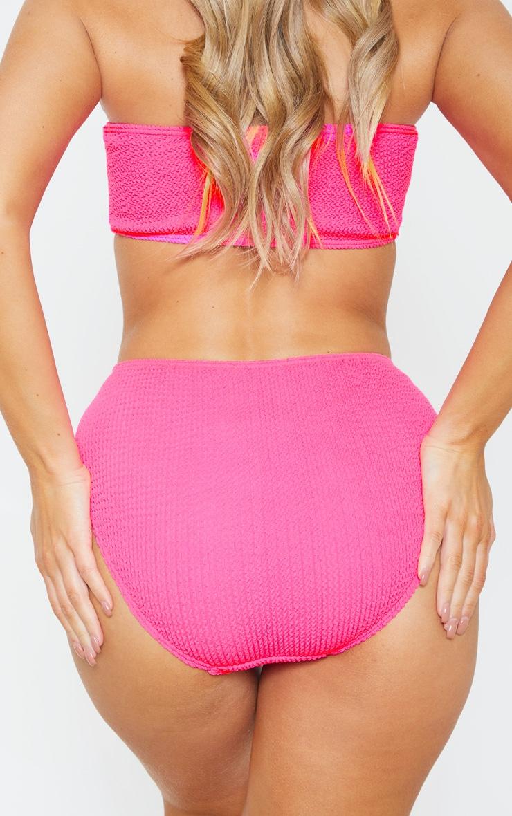 Neon Pink Crinkle High Waist Bikini Bottom 4