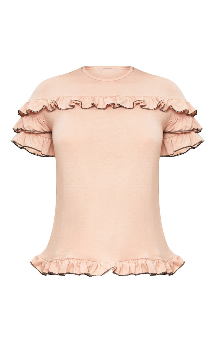 Nude Frill Contrast Edge T Shirt 3