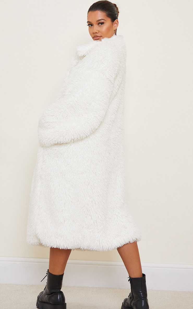 Cream Long Shaggy Faux Fur Oversized Maxi Coat 2