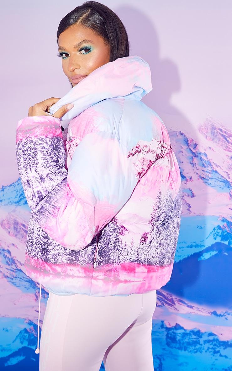 PRETTYLITTLETHING Ski Pink Landscape Print Puffer Coat 2