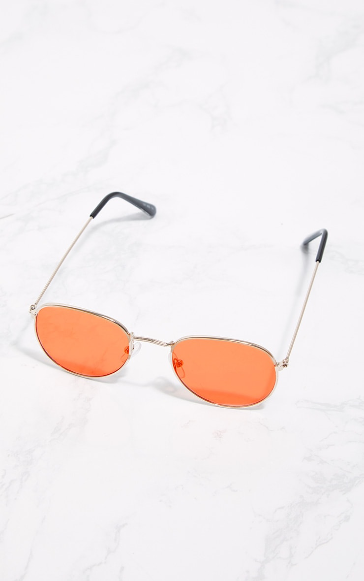 Gold Frame Orange Lens Thin Basic Sunglasses 3