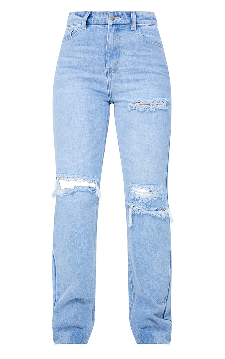 PRETTYLITTLETHING Light Blue Wash Distressed Long Leg Straight Jeans 5