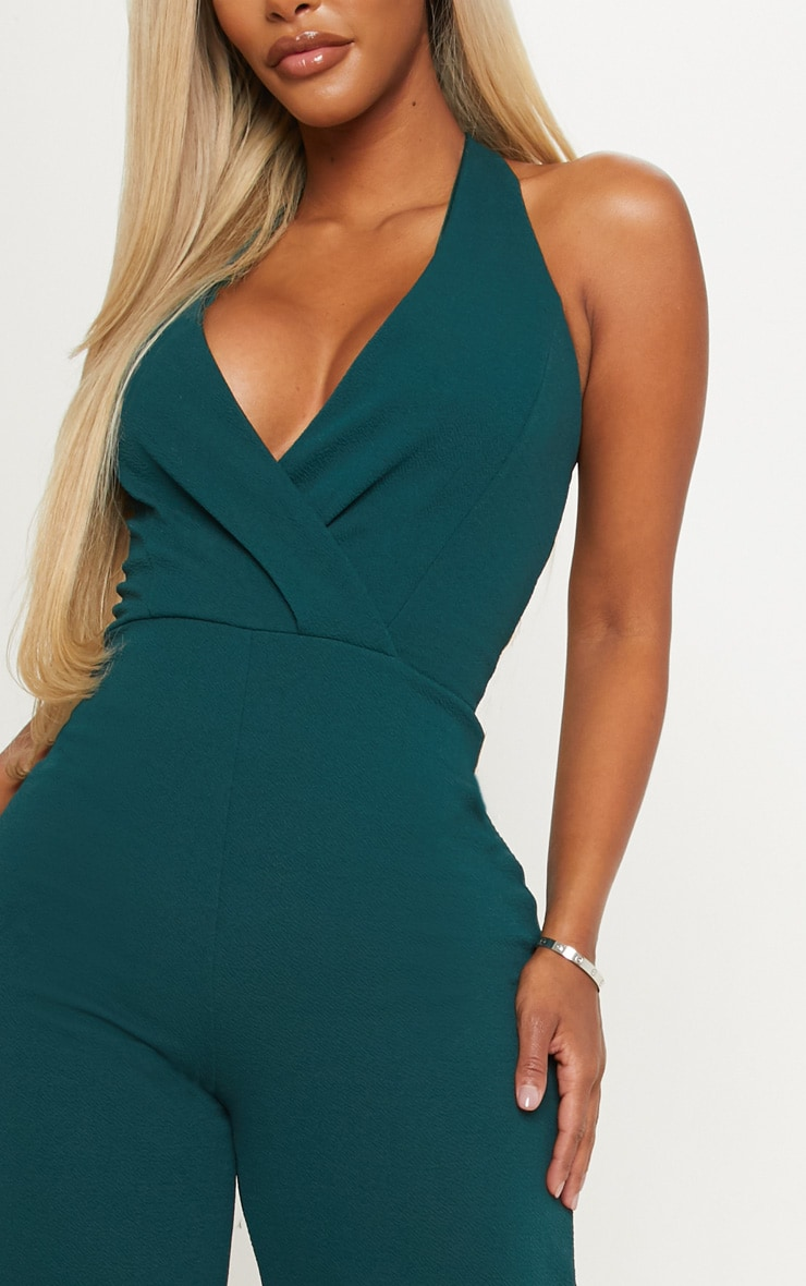 Shape Emerald Green Plunge Halterneck Jumpsuit 6