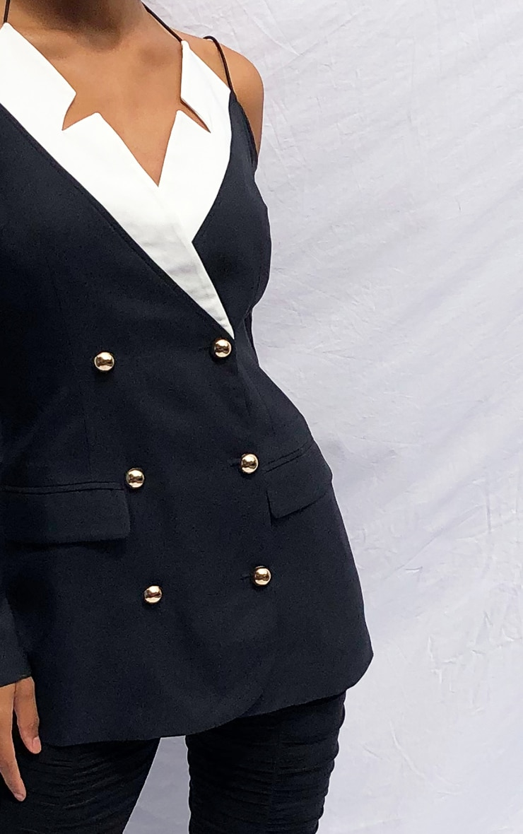 Black Miltary Cut Out Contrast Blazer 4