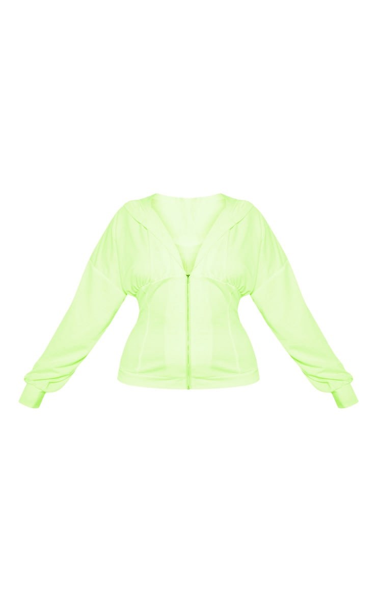 Plus Neon Lime Ruched Zip Hoodie 3