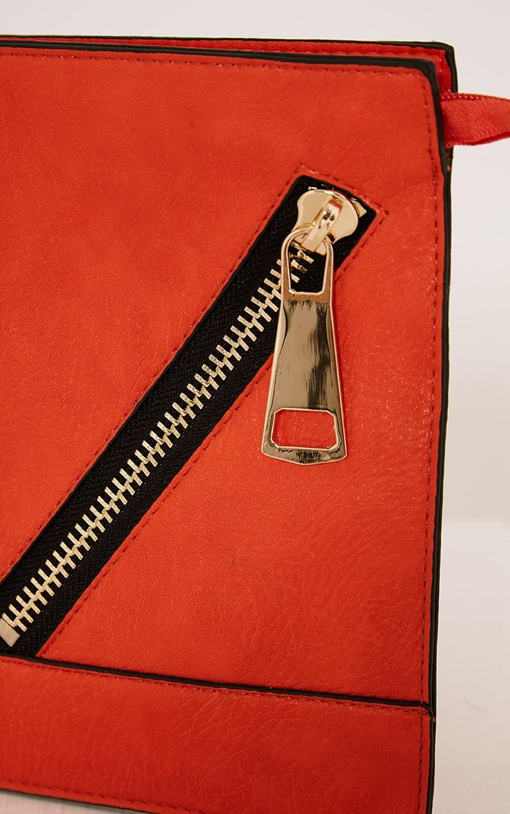 Tay Coral Zip Detail Clutch Bag 5