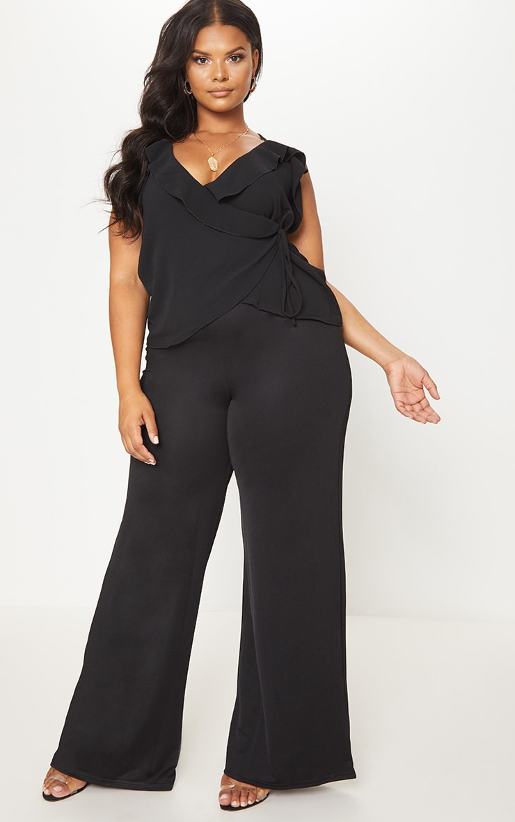 Plus Black Chiffon Frill Cami Top 4