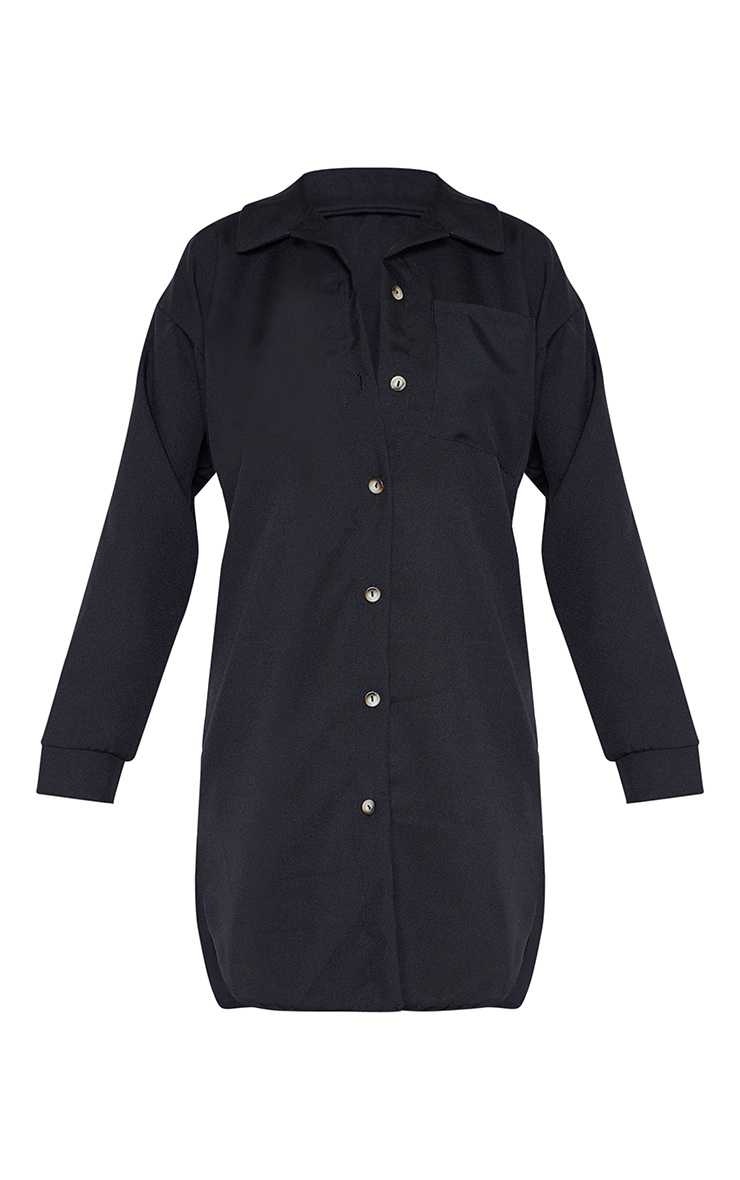 Tall Black Pocket Detail Oversized Shirt Dress 3