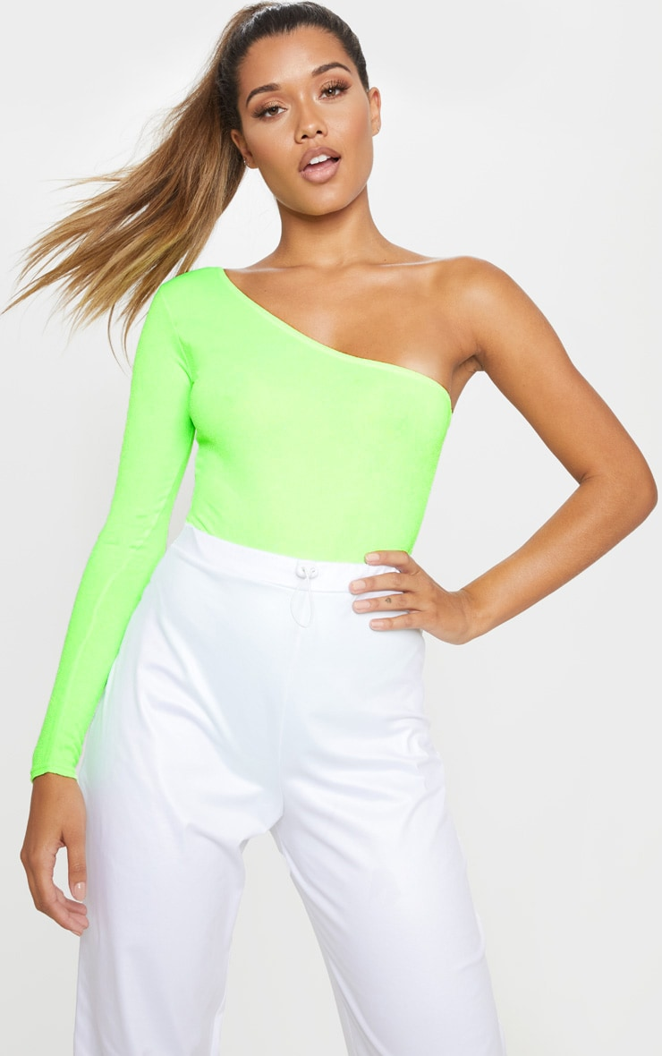 Neon Lime Stretch Crepe One Shoulder Thong Bodysuit by Prettylittlething