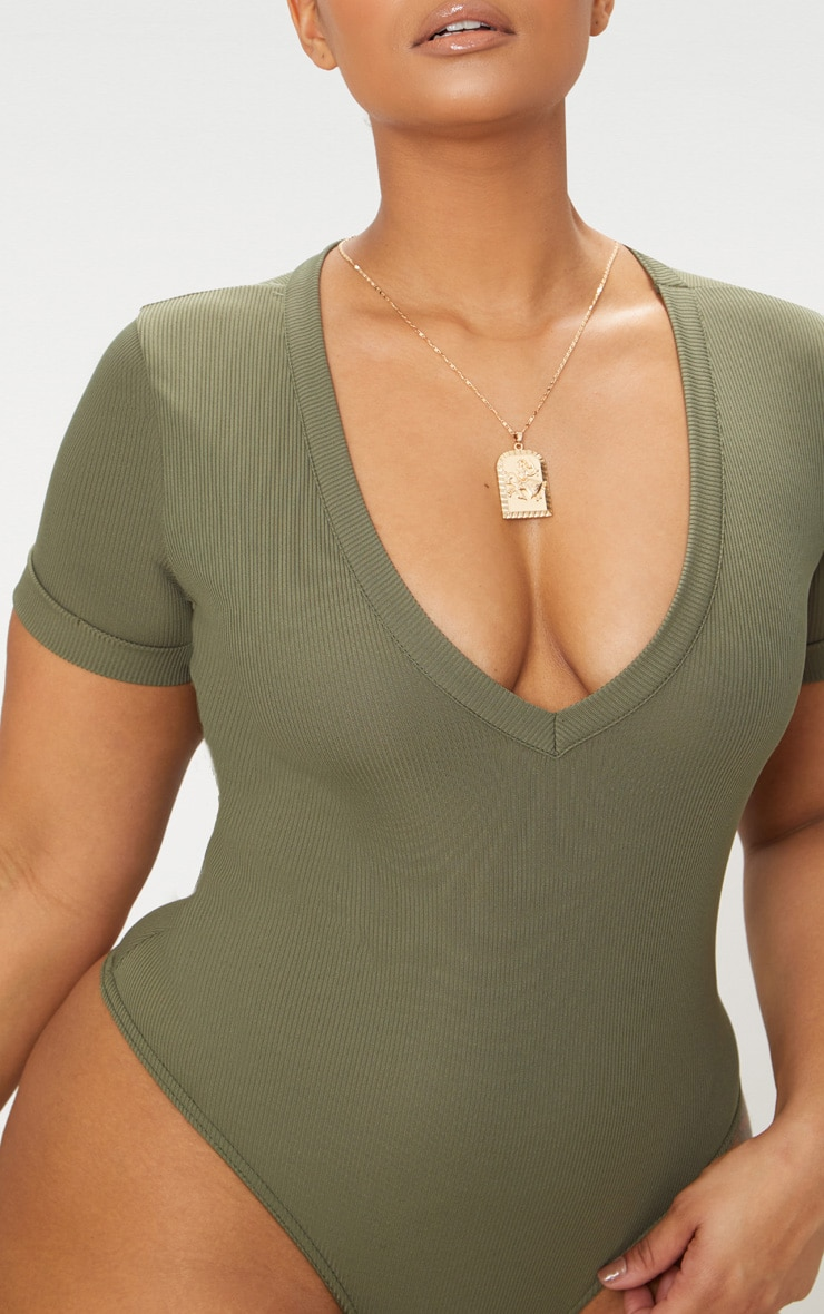 Plus Khaki Ribbed Plunge Short Sleeve Bodysuit 6