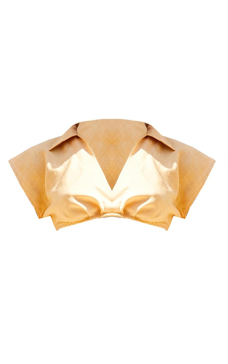 Stone Linen Look Crop Plunge Shirt 5